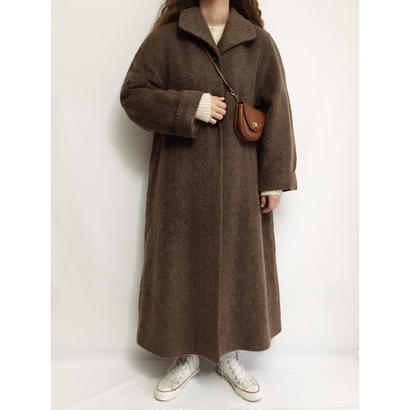 Euro Vintage  Herringbone Mohair Mix Long Coat