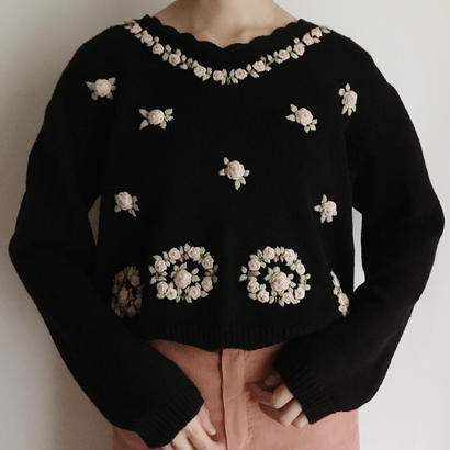 eurovintage flower embroidery knit sweater