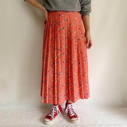 Euro Vintage Cherry Pink Flower Pattern Pleats Skirt