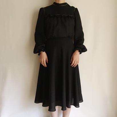 eurovintage black sheer flare dress
