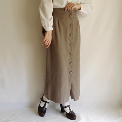 Euro Vintage Front Buttons Long Skirt