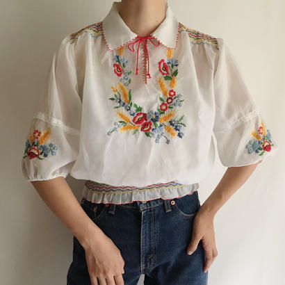 Euro Vintage Hungarian Embroidery Sheer Blouse