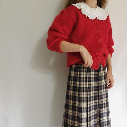 Euro Vintage Red Hand Knit Cardigan