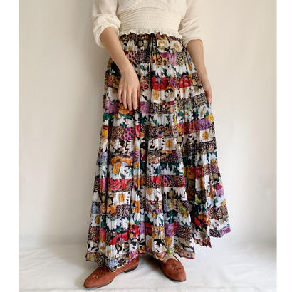 80's Indian Cotton Floral Print Tiered Volume Long Skirt