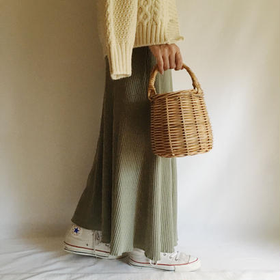Euro Vintage Smoky Green Rib Cutandsewn Long Dress