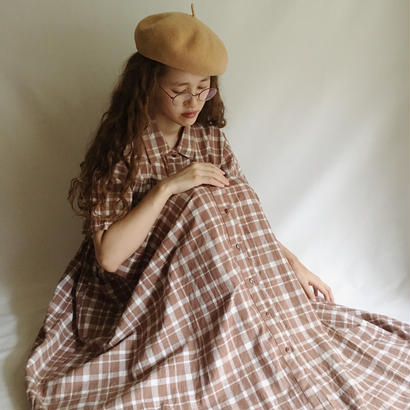 Euro Vintage Brown × White Plaid Long Dress