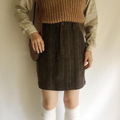 Euro Vintage Stripe Woven Mini Skirt