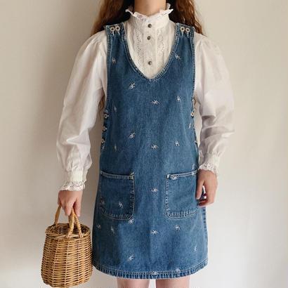 90's Flower Embroidery Denim Jumper Skirt