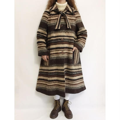 70's Euro Vintage Mix Color Border Aline Volume Long Coat