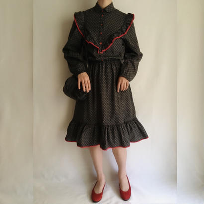 Euro Vintage Black frill design flare dress