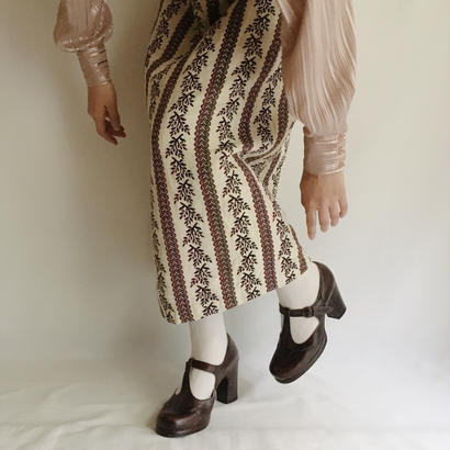 Euro Vintage Leaf Gobelins Long Skirt