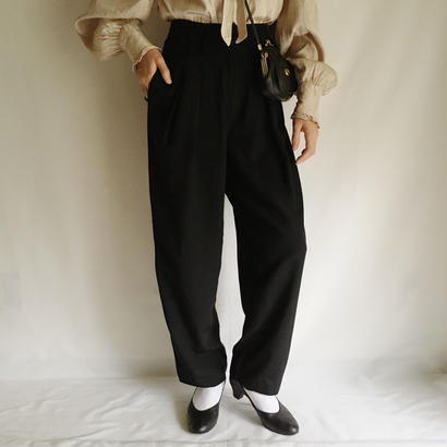 Euro Vintage Black TwoTuck Slacks Pants