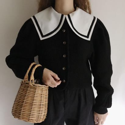Euro Vintage Black Short Knit Cardigan