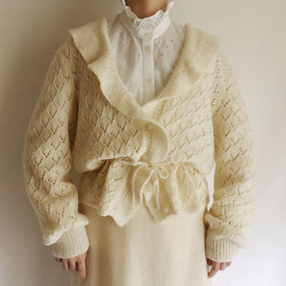 Euro Vintage Open Work Ruffle Collar Knit Cardigan