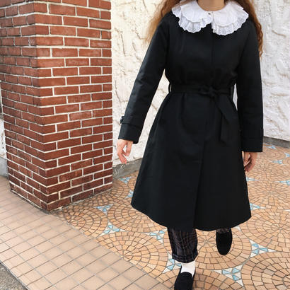 Euro Vintage Black Hooded Long Coat