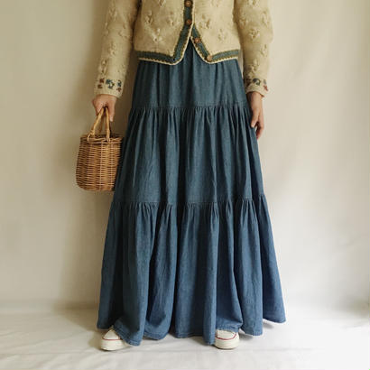 Denim Tiered Volume Long Skirt