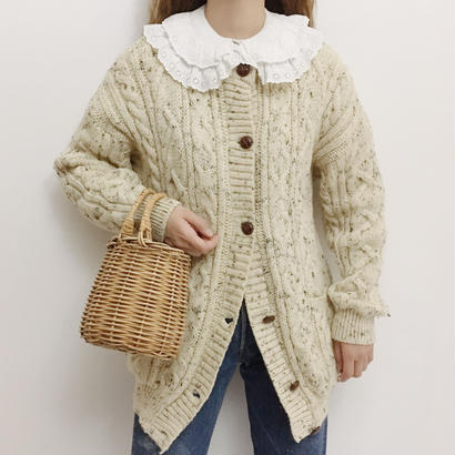 U.K. Vintage Mix Color Cable Knit Cardigan