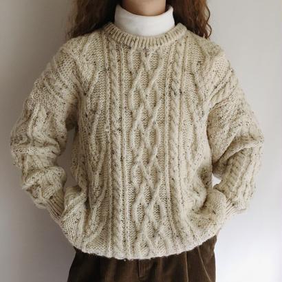 90's U.K. Vintage Chocochip Mix color Cable Knit Sweater