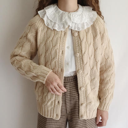 Euro Vintage Beige Cable Knit Cardigan