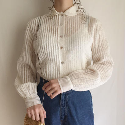 50-60's see through round collar blouse