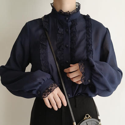 Euro Vintage Standcollar Sheer Lace Blouse