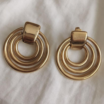 【gold】80's vintage circle motif earring