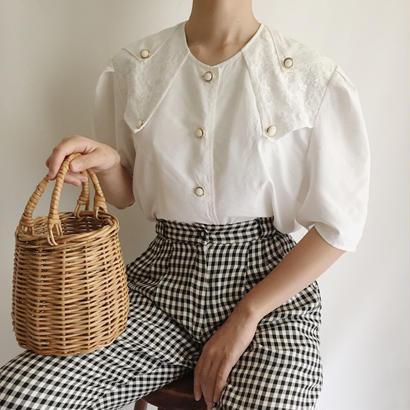 Euro Vintage White Lace Design Blouse