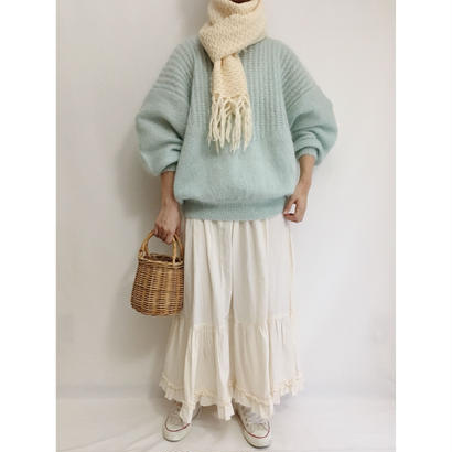 Euro Vintage Pale Blue Volume Sleeve Hand Knit Sweater