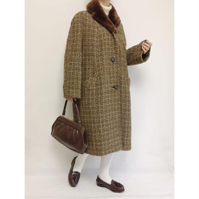 60s U.K Vintage Shawl Collar Tweed Long Coat