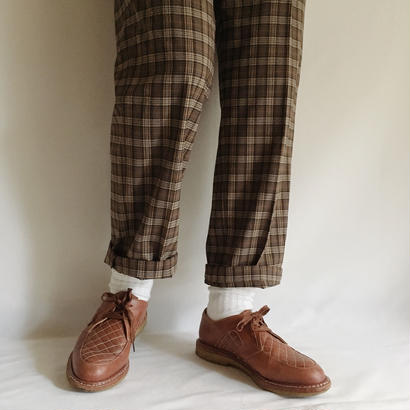Euro Vintage Brown Tartan Check Straight Pants