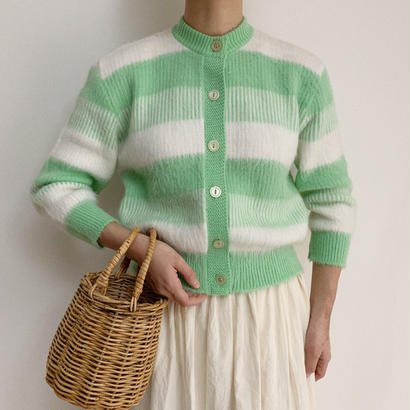 60's USA Pale Green × White Border Knit Cardigan