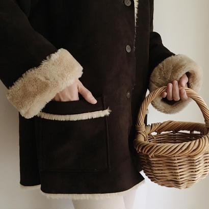 dark brown fake mouton coat