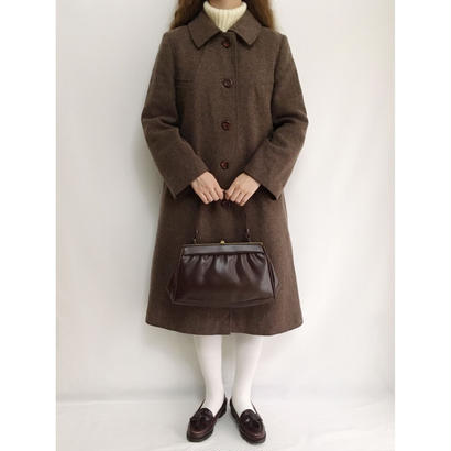 Euro Vintage Dark Brown Aline Coat