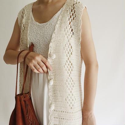 Euro Vintage Crochet knit Long Vest