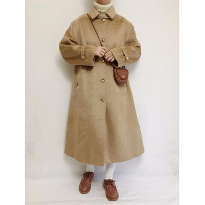 70s Euro Vintage Camel Color Aline Volume Long Coat