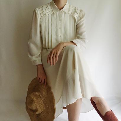 USA  Pleats Design Sheer Dress