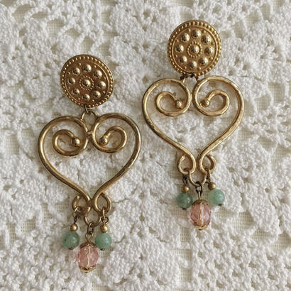 【gold】80's heart motif beads earring