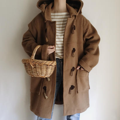 eurovintage cashmere mix brown  × plaid duffle coat