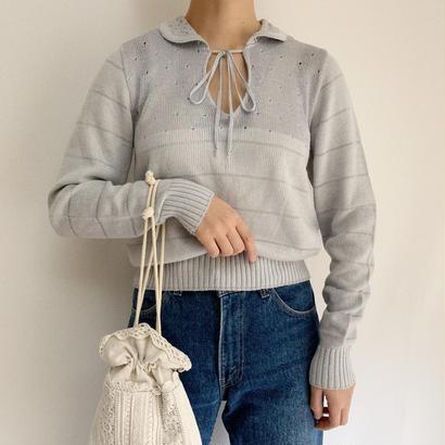 Euro  Vintage Pale Blue Knit Blouse