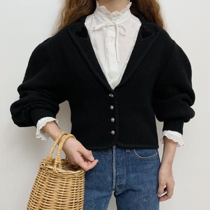 Euro Vintage Black  Heart Motif Folk Knit Cardigan