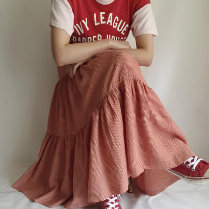 Red × Beige gingham check tiered long skirt