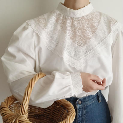Euro Vintage  White stand collar lace design blouse