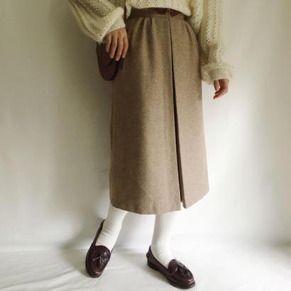 Euro Vintage Front Pleats Semi Long Skirt