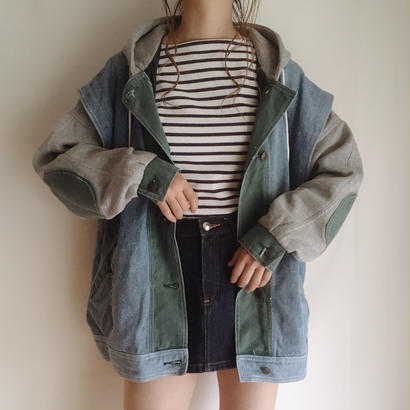 80's-90's over silhouette sweat ×  denim foodie