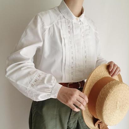 Euro Vintage White round collar volume sleeve blouse