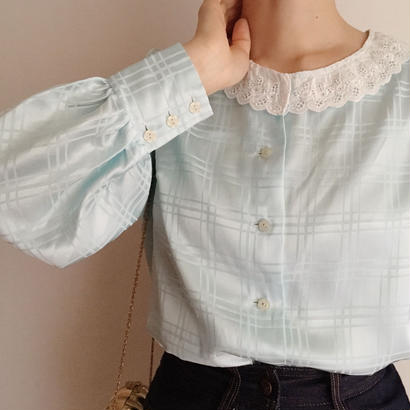 pale blue lace collar satin blouse