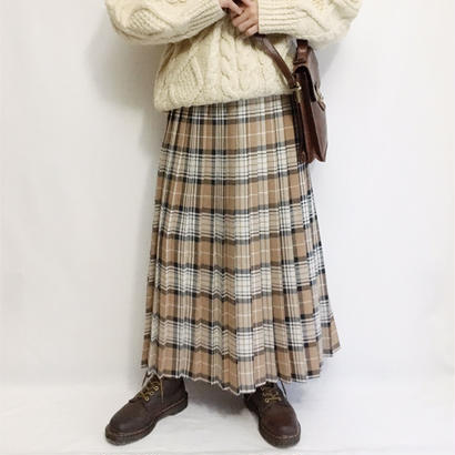 Euro Vintage Plaid  Pleats Long Skirt