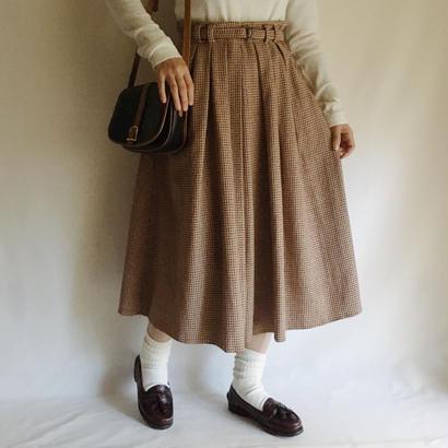 Euro Vintage Check Volume Flare Skirt