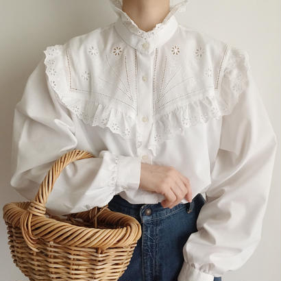 Euro Vintage White stand collar frill lace Blouse