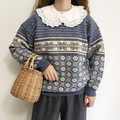 Euro Vintage Dusky Blue Nordic Knit Sweater